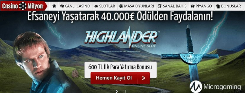 Casinomilyon Highlander Online Slot Oyunu 40 000 Euro Ödül